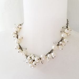 American Eagle - pearl silver bead necklace